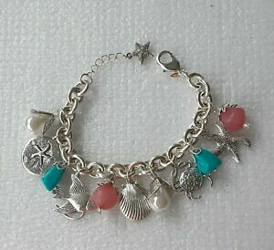 "Nautical Charm Bracelet Sea Life 2005 Silver Tone Beach 8"" NEW AVON"