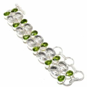 "White Topaz, Peridot Gemstone 925 Sterling Silver Bracelet 7-8"""