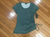 NWT Jones New York Women's Green Black Top Blouse Ruched Side Tie  Sz L MSRP $49
