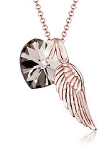 Elli Halskette Flügel Herz Swarovski Kristalle 925 Silber