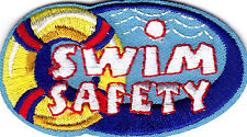 """SWIM SAFETY"" - Iron On Embroidered Patch - Swimming, Sports, Words, Lifesaving"
