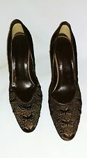 Bottega Veneta Brown Perforated Butterfly Leather Pony Hair heels Shoes Sz 37.5