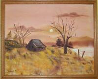 Vintage Original Oil Painting on canvas Landscape, Signed J.Newbold, dated