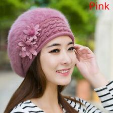 Women Ladies Knitted Beret Beanie Hat Rabbit Fur Winter Warm Crochet Ski Cap Khaki