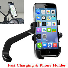 Black Motorcycle Handlebar Cell Phone Holder CNC Mount USB Charger Fast Charging