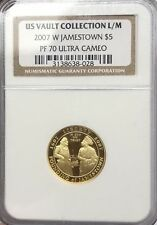 2007 W $5 Gold Coin Jamestown US Vault Collection L/M PCGS PR70 ULTRA CAMEO #028