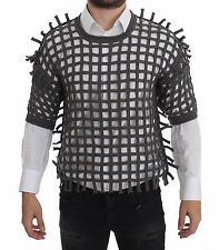 NWT $1200 DOLCE & GABBANA Gray Runway Netted Knitted Sweater T-shirt IT52 / XL