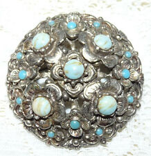 Vintage Silver Tone with Turquoise Blue Cabochon Brooch/Pin  CC61