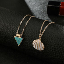 FJ- Women Double Layer Triangle Faux Turquoise Shell Chain Necklace Jewelry Myst