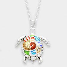"""Sea Turtle Necklace Long Chain 2"""" Pendant Statement Beach Sea Life Silver Multi"""