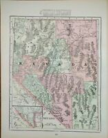 "Vintage 1902 NEVADA Atlas Map 11""x14"" Old Antique Original ELKO RENO WINNEMUCCA"