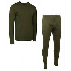 BRITISH ARMY SURPLUS THERMAL UNDERWEAR – olive green vest long johns base layer