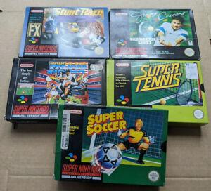 5 x Boxed Super Nintendo SNES UK PAL Games - Stunt Race FX / Super Tennis
