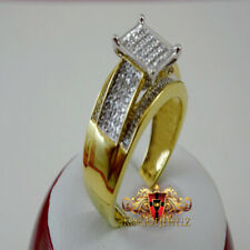 GENUINE DIAMOND WOMENS LADIES YELLOW GOLD FINISH ENGAGEMENT BRIDAL WEDDING RING