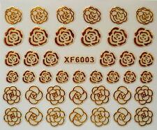 KIT 40 MINI STIKERS ADESIVI PER UNGHIE NAIL ART FIORE ROSA ORO IN  3D