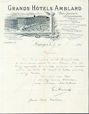 Dépt 87 - Limoges - Superbe Art Nouveau Grands Hotels AMBLARD du 16/10/1905
