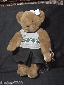 """VERMONT TEDDY BEAR PLUSH FEMALE GOLFER W/BAG/CLUB 16"""" JOINTED NEW WITH TAGS 1993"""