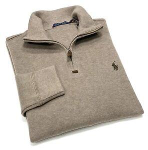 Polo Ralph Lauren Quarter Zip Cotton Sweater In Brown Heather RRP£120