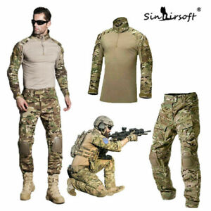 Herren Army G3 Combat Uniform Shirt & Hose Set Militär Airsoft MultiCam Camo