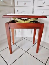 ancien tabouret de piano rectangulaire-à crémaillère-en bois-skaï blanc-art déco
