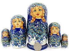 ORIGINALE RUSSE dipinte a mano Nidificazione bambole 5 BLU FIORE BIANCO Babushka