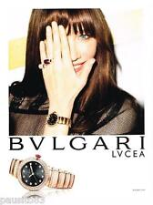 PUBLICITE ADVERTISING 0105  2014   la montre LVCEA de BULGARI avec CARLA BRUNI