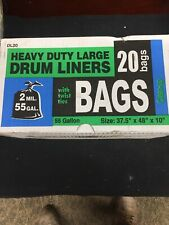 Heavy Duty 55 Gallon Drum Liners - (Large 20 Pack/w Ties) - 2 MIL Industrial ...