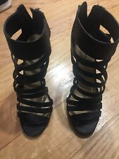 black express strappy wedges