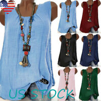 7 Colors Womens Sleeveless O Neck Solid Vest Loose Summer Casual Tank Tops S-5XL