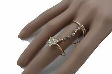 Metal Silver Butterfly 7.5 Band Size Women Gold Wrap Around Ring Fashion Jewelry