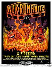 NEKROMANTIX / FIREBIRD 2013 PORTLAND CONCERT TOUR POSTER - Psychobilly Music
