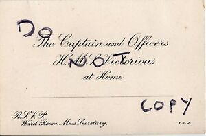 WW2 ? Invitation card from Captain & Officers HMS Victorious unused