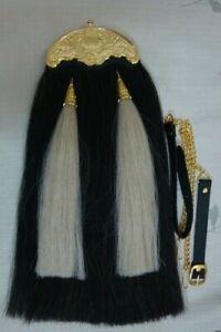 New BrandOriginal 100% Horse Hair Long Sporrans with Chain & Belt,Gold Chantel