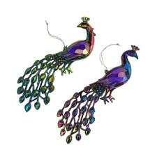 Acrylic Iridescent Peacock Christmas Ornaments, Multi-Color, 8-Inch, 2-Piece