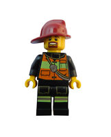 Lego Feuerwehrmann dunkelroter Helm Feuerwehr Mann Minifigur (cty342) City Neu