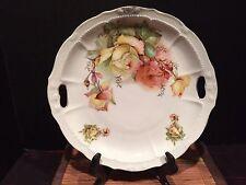 "Porcelain Serving Plate Roses Handles 11 1/2"" Numbered"
