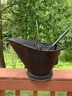 Vintage Coal Scuttle Hog Bucket #17 Metal, with Ash Shovel and Handle Black