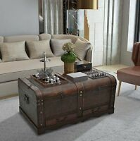 Large Wooden Coffee Table Treasury Pirate Chest Medieval Storage Trunk Brown NEW