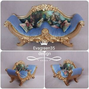 Dolls house sofa chaise couch French ornate 12th scale