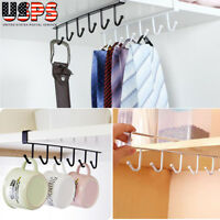 6 Hook Cup Holder Hang Kitchen Cabinet Under Shelf Storage Rack Organizer Tool