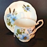 Royal Albert Teacup And Saucer - White With Blue Daisies - Bone China England