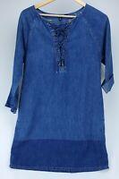 Ralph Lauren Jean Shift Dress Sz PS Lace-Up Denim Cotton Blue Chambray L/S Women