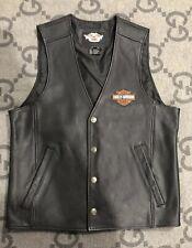 100% AUTHENTIC HARLEY DAVIDSON VEST Accessories Black Leather Size Medium M