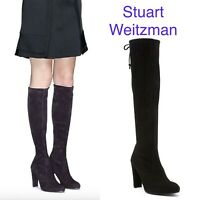 Stuart Weitzman Keenland Knee High Stretch Boots Black Suede Tie Closure US 11 M