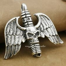 925 Sterling Silver Huge Skull Cross Wing Pendant Mens Biker Pendant 9F028C JP