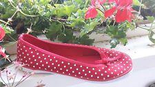 Neu Schuhe Damen  Rockabilly Ballerina rot 40