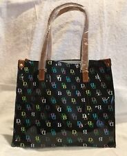 Dooney & Bourke Black Multicolor DB Logo Print Vinyl Medium It SHOPPER Tote