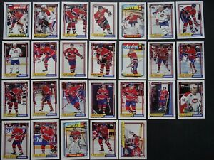 1992-93 Topps Montreal Canadiens Team Set of 26 Hockey Cards