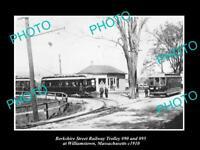 OLD HISTORIC PHOTO OF WILLIAMSTOWN MASSACHUSETTS BERKSHIRE RAILWAY TROLLEY c1910