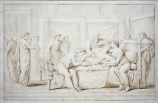 Cercle de G-F Doyen La mort de Germanicus XVIII grand dessin Néoclassique 25x39